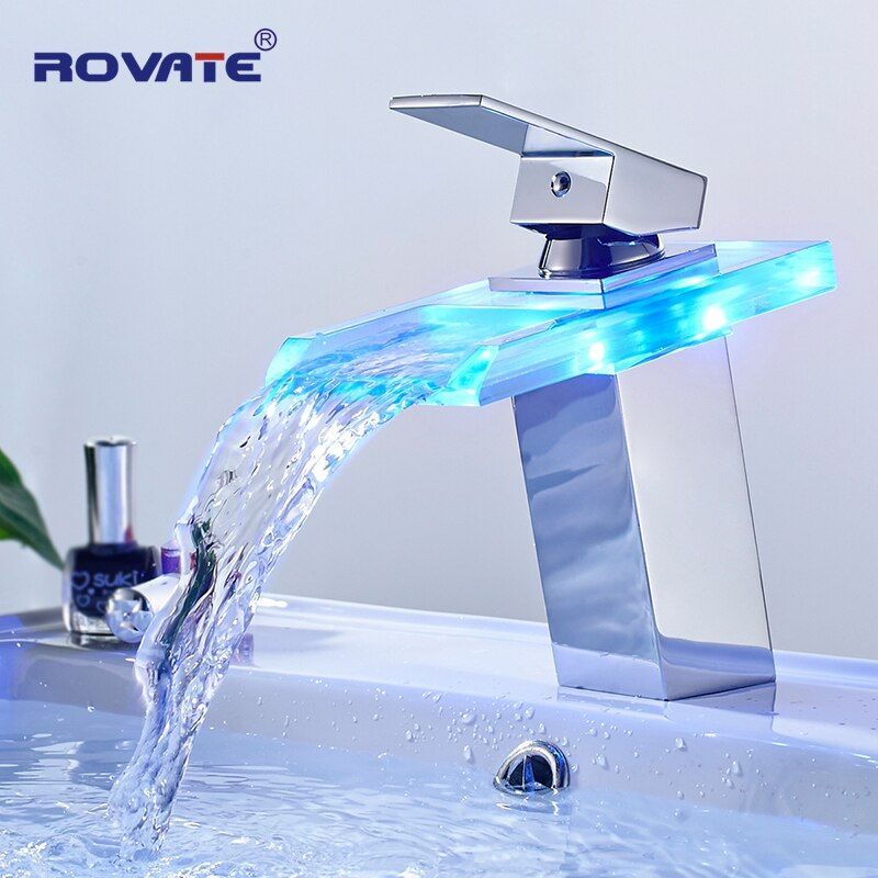 ROVATE LED Basin Faucet Brass Waterfall Temperature Colors Change Bathroom Mixer Tap Deck Mounted Wash Sink Glass Taps