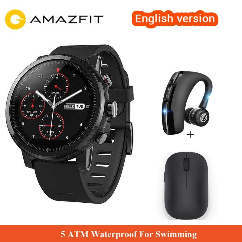 Original Xiaomi Huami Amazfit 2 Amazfit Stratos Pace 2 Smart Watch With GPS Xiaomi Watches 5ATM Waterproof 1.34