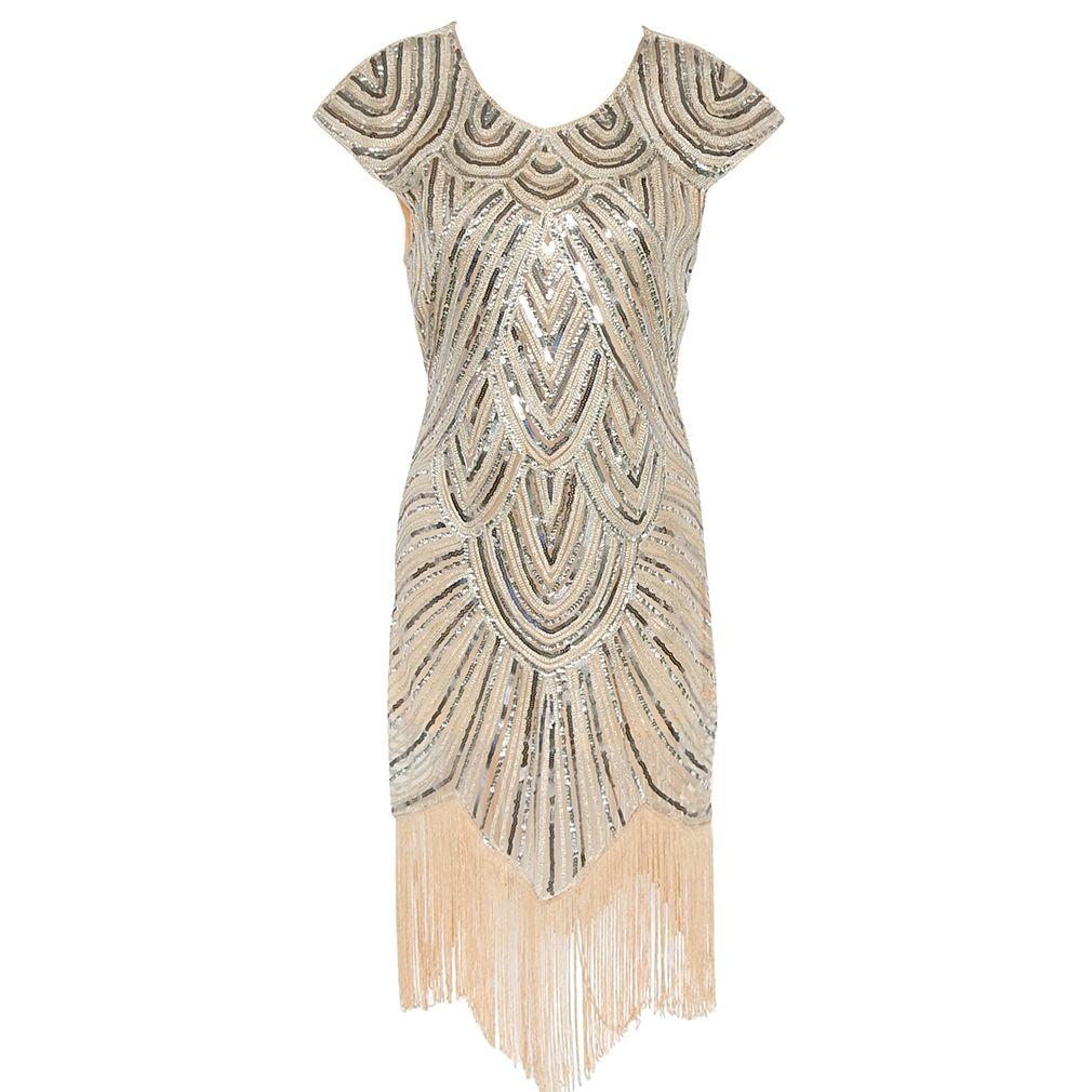 Для женщин Гэтсби платье 1920 S Хлопушки платье Для женщин блесток ручной работы Украшенные бахромой платье для танцев Gatsby Винтаж вечернее пл...