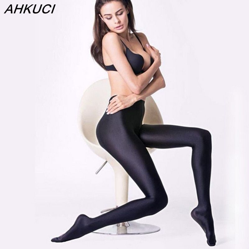 AHKUCI New Brand Women Sexy Black Shiny Elastic Tights Plus Size Nylon Stretchy Warm Pantyhose High Quality Collant Femme leggin