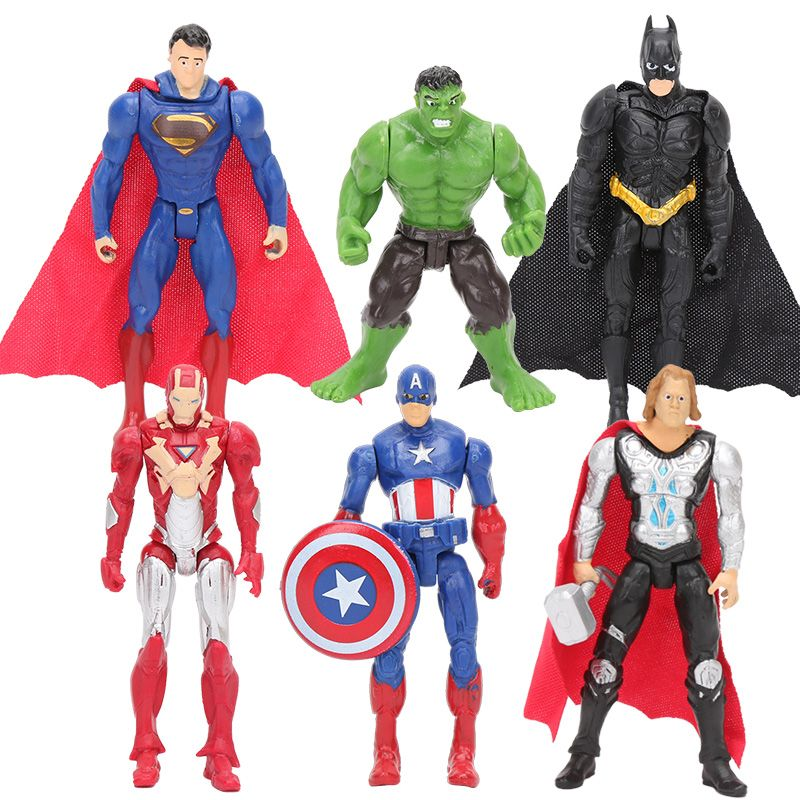 Hasbro Marvel 6 pcs/ensemble 8-10 cm Super Hero The Avengers action figure Jouets Spiderman Captain America Hulk batman thor superman jouet