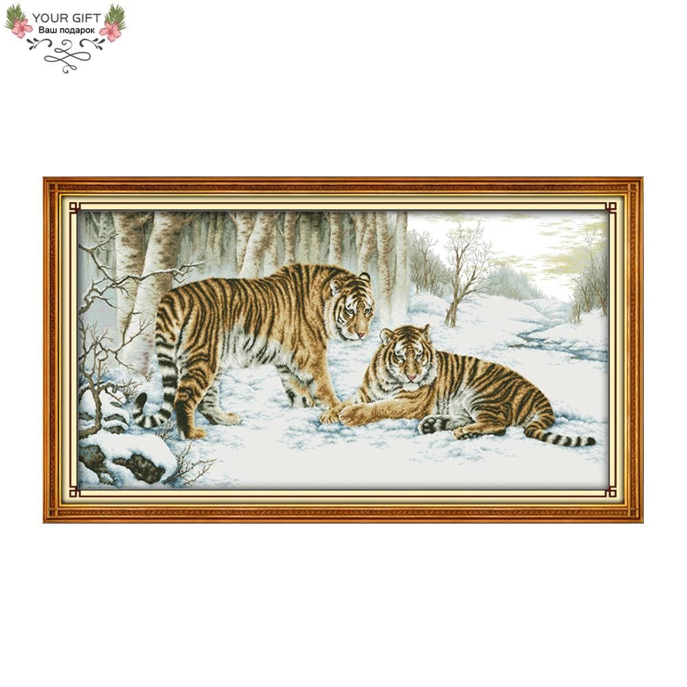 Joy Sunday D210 14CT 11CT Stamped and Counted Home Decoration Tiger Needlework Embroidery Animal Cross Stitch Kits