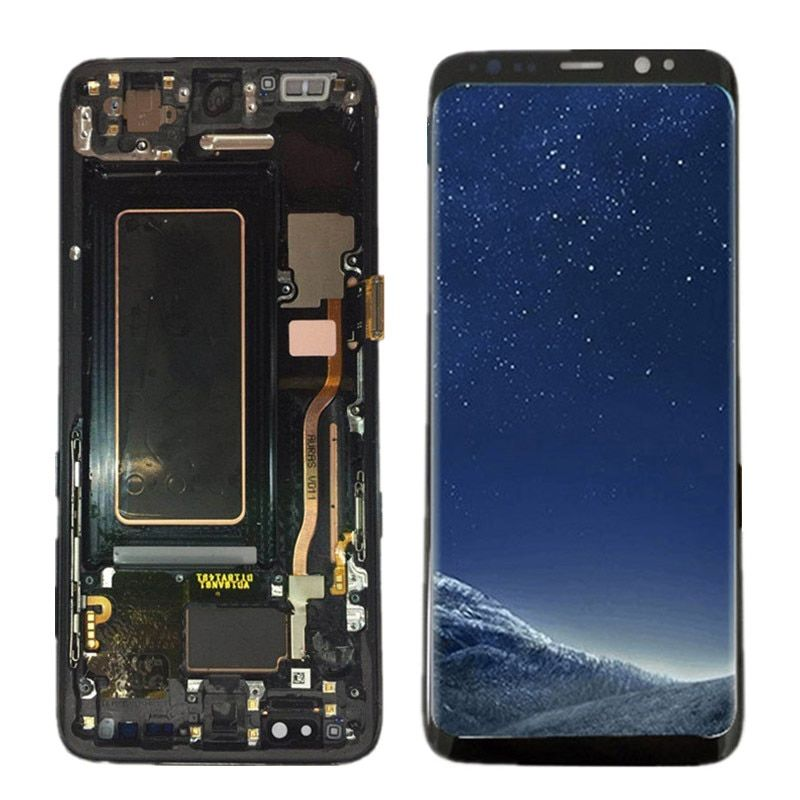 100% Super AMOLED LCD For Samsung Galaxy S8 G950F G950U G950 S8 Display Touch Screen Assembly+Frame 5.8