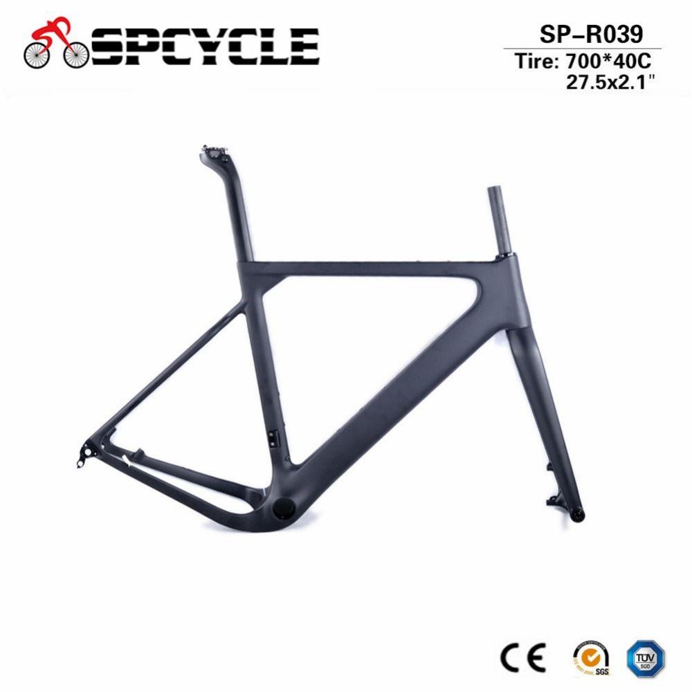 Spcycle 2018 Neue Aero Carbon Kies Rahmen T1000 Carbon Cyclocross Disc Bremse Straße oder MTB Bike Frameset QR oder thru achse Verfügbar
