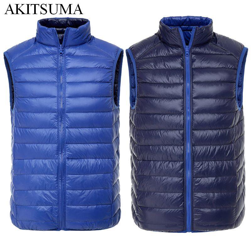 men 90% duck down vest Ultra Light Duck Down Vest Reversible two sided wear waistcoat Vest Sleeveless Jacket autumn winter coat