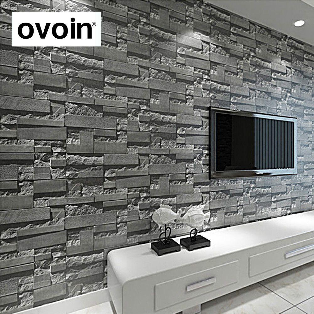 Moderne Gestapelte ziegel 3d stein tapetenbahn graue mauer hintergrund für wohnzimmer pvc vinyl wand papier stereoskopischen blick