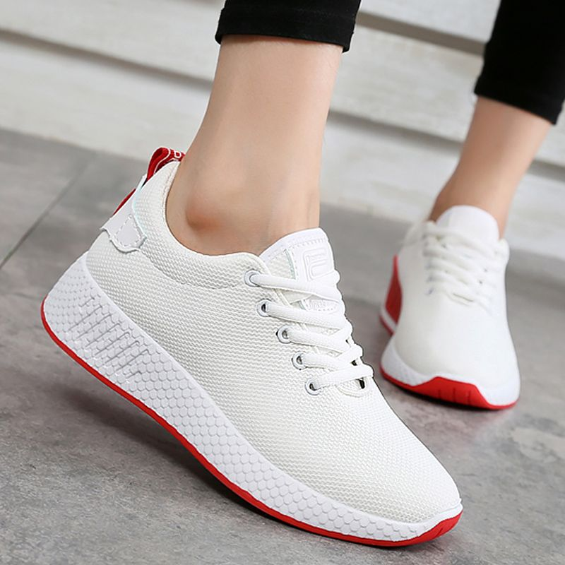 Breathable air mesh women sneakers spring 2018 new arrival shoes woman cotton fabric wedges sneakers female shoes size 35-40