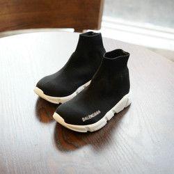 2018 Nouvelle Arrivée Enfants Chaussette Chaussures Haute-Top Cheville Tricoté Gumshoes Respirant Enfants Occasionnels Chaussures D'appartements Glissent Sur Noir EUR 26-30 #