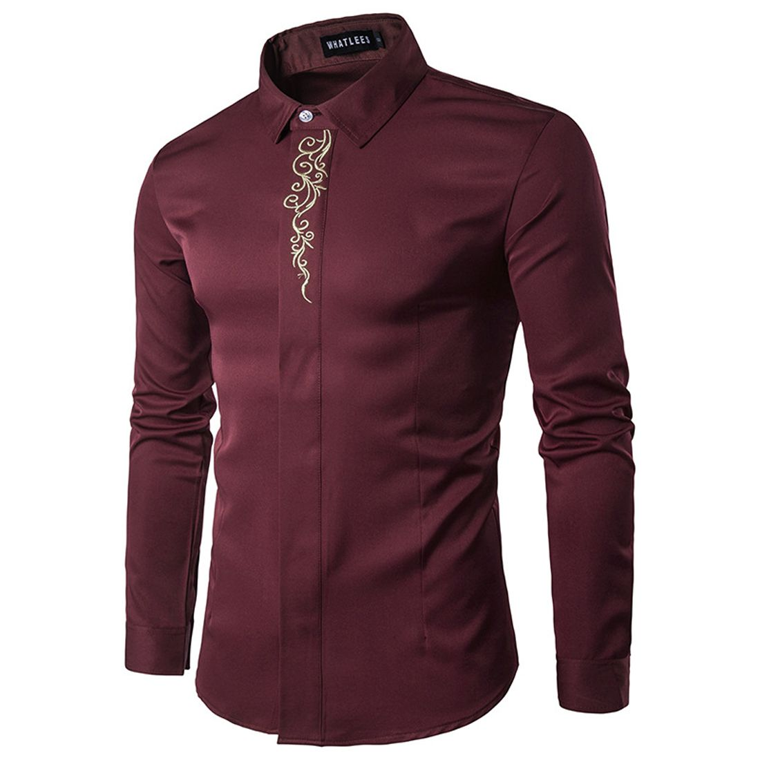 Gold Embroidery Printed Brand Shirt Men Long Sleeve Turn Down Collar Gentleman Tuxedo Shirts Chemise Homme 2017 Solid Camisas