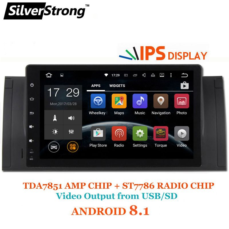 SilverStrong NEW IPS ANDROID 8.1 Car Player Android for BMW E53 X5 E39 M5 1DIN Radio Rockchip PX30 CPU With RDS DAB Option