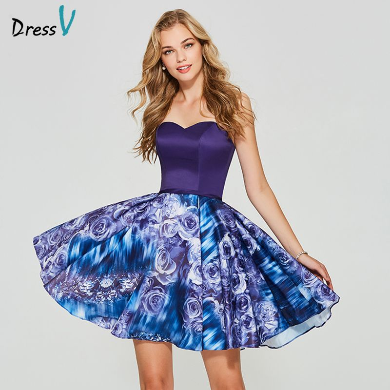 Dressv Lavender print homecoming dress a line sweetheart neck sleeveless lace up mini homecoming&graduation dress