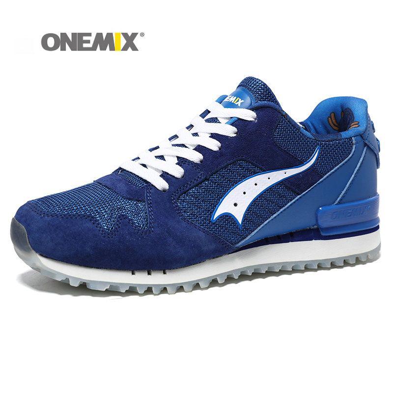 ONEMIX New Men Running Shoes Pigskin <font><b>Uppers</b></font> Sport Shoes for Boy Damping Light Men Retro running shoes Shoes Free Shipping
