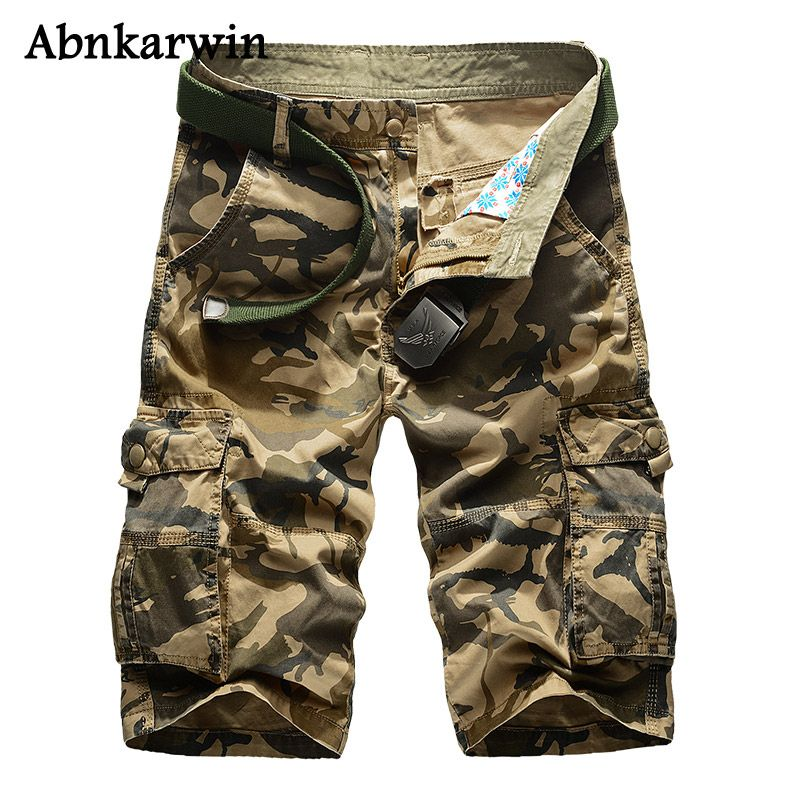 2017 New Summer Camouflage Cargo Shorts Men Casual Loose Men's Military Short Trousers Plus Size 29-44 No Belt