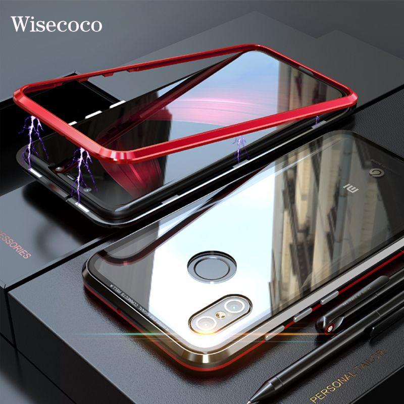 Luxus Magnetische Adsorption Fall für xiaomi mi 8 Ultra Magnet Metall Klar Gehärtetem Glas Handy Abdeckung Für xio mi xiao mi 8