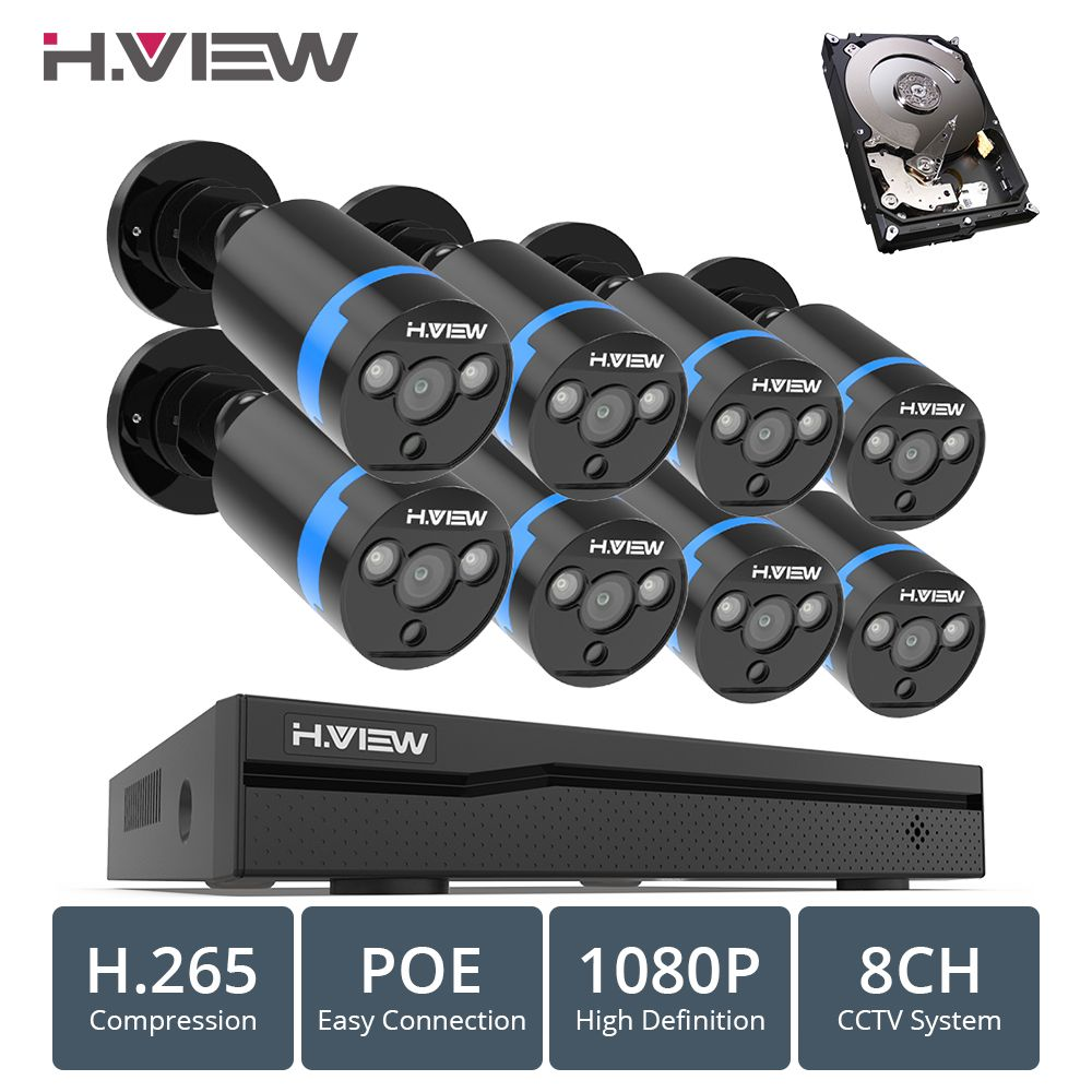 H.VIEW 8ch 1080p CCTV Camera System PoE H.265 CCTV Camera System 2mp Surveillance Kit PoE 48V Surveillance Kit Full HD