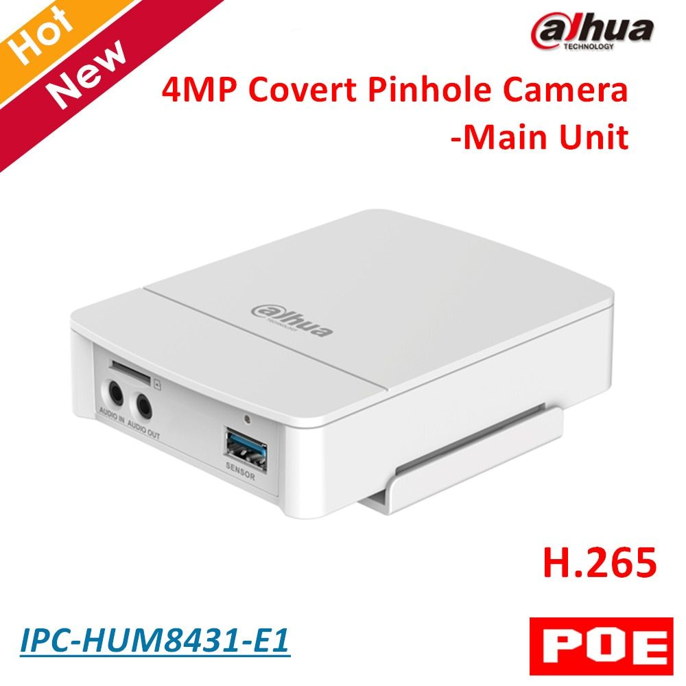 4MP Poe Dahua Covert Pinhole Camera Main Unit IPC-HUM8431-E1 H.265 Support Smart detection and SD Card Metal case