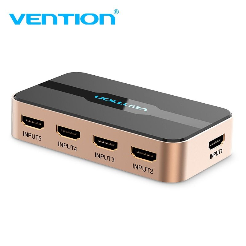Vention HDMI Splitter 5 in 1 out with IR Wireless Remote Switcher AC Power Adapter for Chromecast for PS3/4 3D HDCP HDMI Switch