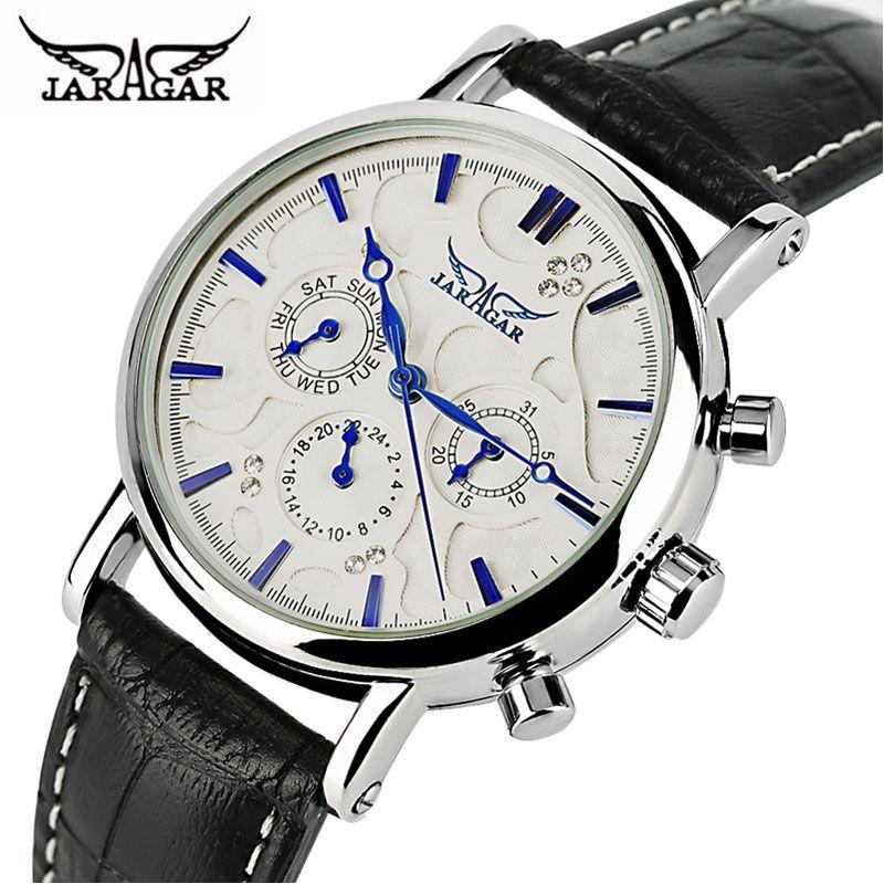JARAGAR Automatic Mechanical Watch Men Genuine Leather Band Day Date Women Watches Modern Analog Clock 2019 New Dress Best Gifts