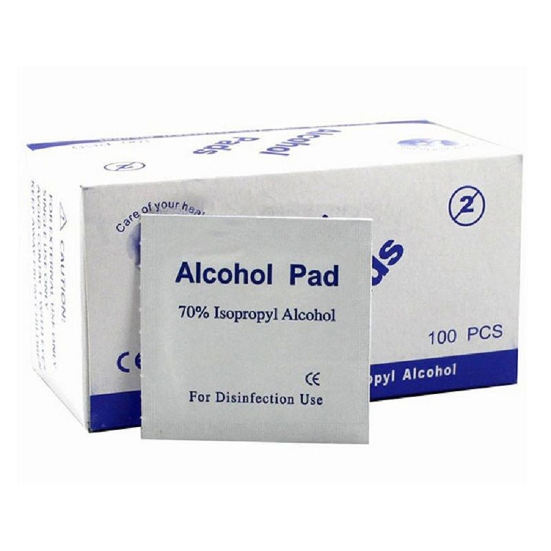Portable Useful 100pcs/Box Alcohol Swabs Pads 35mm x 35mm Wipes Skin Cleanser Sterilization 70% Isopropyl First Aid Home 0088