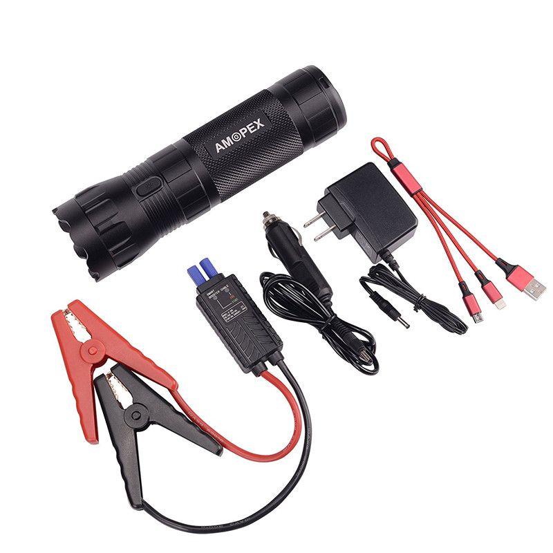 HCOOL Portable Jump Starter 12000mAh 400A Car Jump Starter Peak Tactical Flashlight Power Bank Battery Safety Hammer Essential