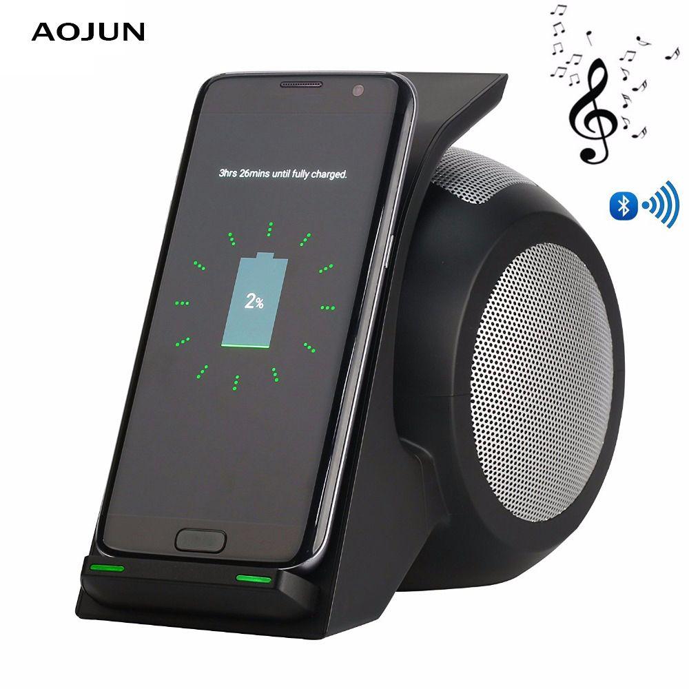 Qi Chargeur Sans Fil Avec Bluetooth Haut-Parleur Téléphone Rapide Sans Fil Chargeur Pour Samsung Galaxy S9/S9 Plus Note 8 9 s8/S8 Plus