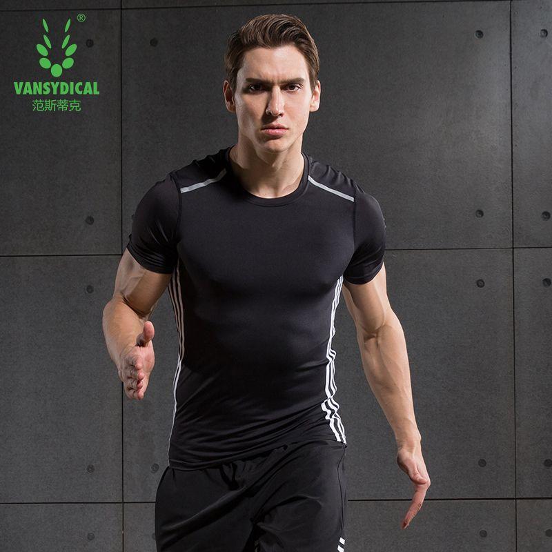 Для мужчин Бег футболка Фитнес сжатия Рубашки для мальчиков Рубашка с короткими рукавами slrefective Run База Слои быстросохнущая летний тренинг ...