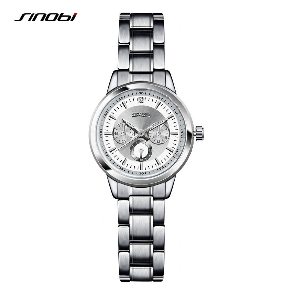 SINOBI Для женщин браслет модные Сталь наручные Часы Элитный бренд Женева кварцевые часы женские наручные часы Relojes Mujer saatler