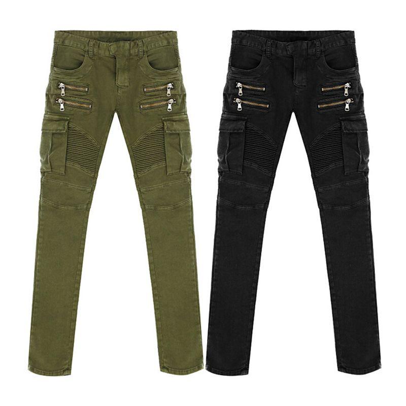 New Arrival High Quality Green Black Motorcycle Denim Biker jeans Men Skinny 2016 slim elastic jeans hiphop Washed