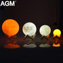 Recargable LED noche luz lámpara Luna 3D impresión Luna táctil 2 colores cambiar Interruptor táctil para regalo creativo hogar decoración