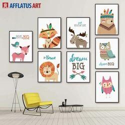 AFFLATUS Cerfs Renard Lion Rêve Mur Art Toile Peinture Affiches Et Gravures Nordique Animaux Mur Photos Enfants Chambre Décor