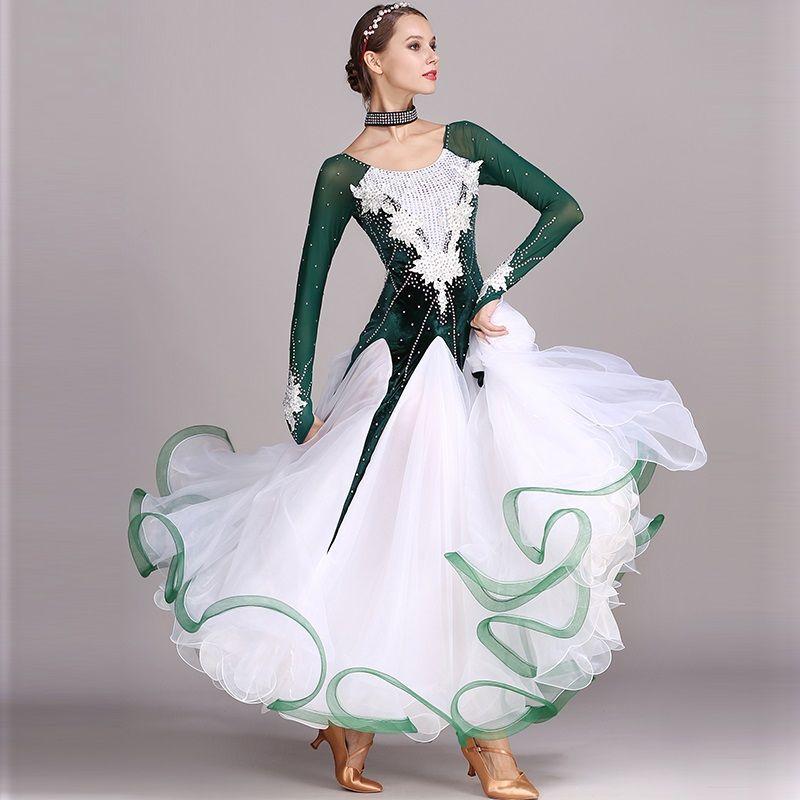 Green strass gesellschaftstanz wettbewerb kleid standard kleider modern dance kostüm ballsaal walzerkleid leucht kostüme