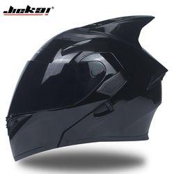 Caliente venta JIEKAI Flip Up motocicleta casco Modular Moto casco con visera interior seguridad doble lente Racing Full Face cascos