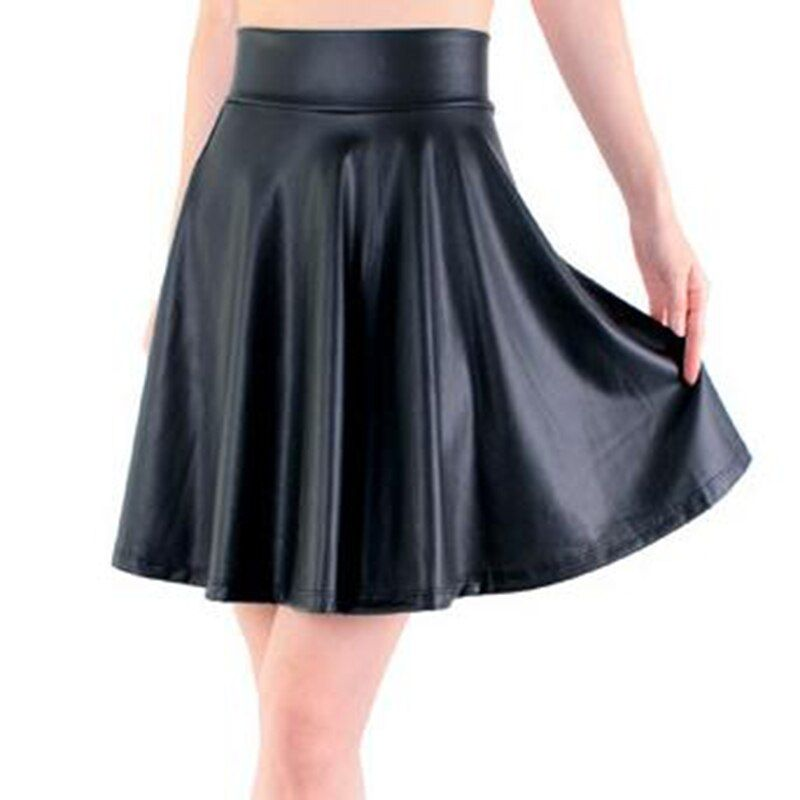 2018 new high waist faux leather skater flare skirt casual mini skirt above knee solid color black skirt S/M/L/XL