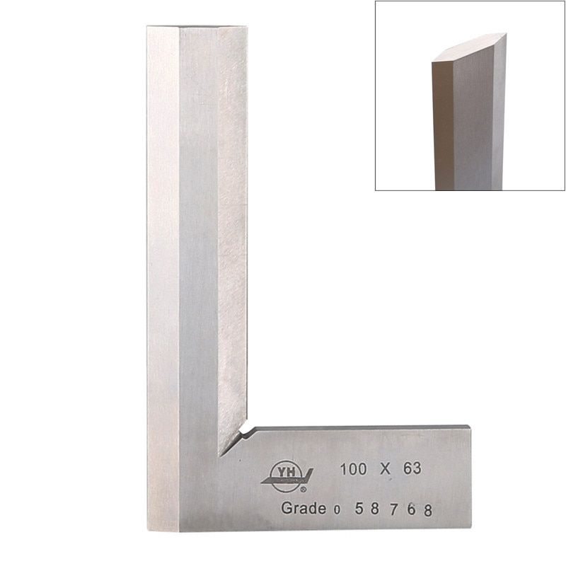 Stainless Steel Bladed 90 Degree Angle Ruler 100*63mm Precision 0.02mm Grade 0 Measuring Tool