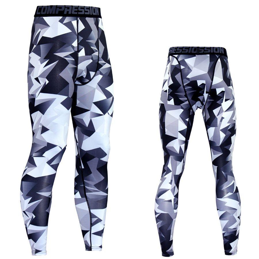 2019 pantalons de Compression hommes survêtement décontracté motif collants Lycra musculation haute élasticité survêtement s couche de Base Leggings Skinny