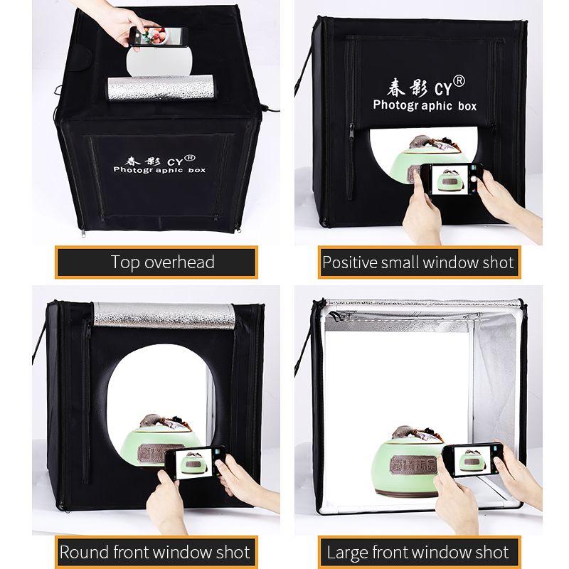 CY Professional 32 ''80x80x80 cm Photo Studio boîte à lumière LED boîte souple tir lumière tente photo boîte ensemble pour bébé vêtements lichtbak