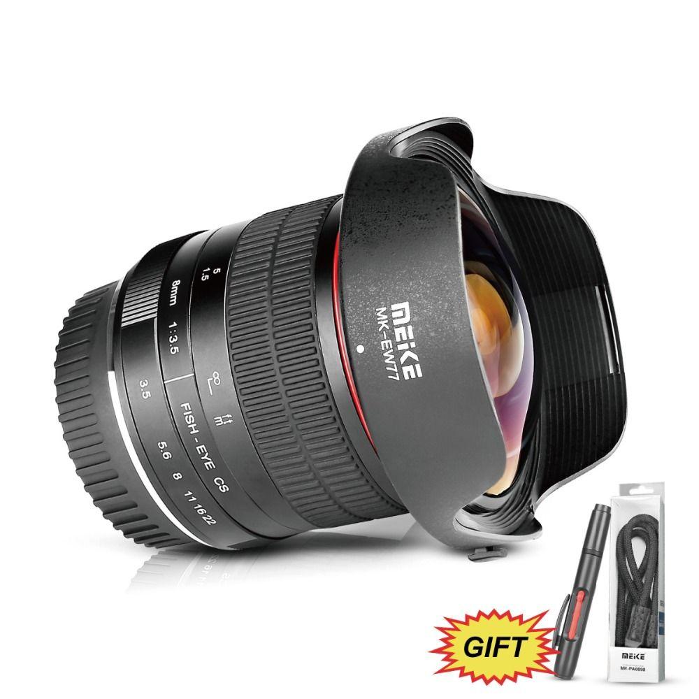 Meike 8mm f/3,5 Weitwinkel Fisheye Kamera Objektiv für Nikon D3400 D5500 D5600 D7000 DSLR Kameras mit APS-C/Volle Rahmen + Freies Geschenk