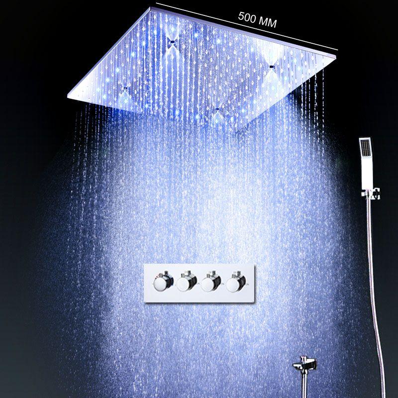 Moderne Große Regen Dusche Set Thermostat Bad Misch Ventil 20 zoll Misty Platz Dusche Panel Kopf Mit Wasser Power LED ligthts