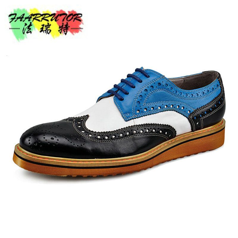 Branded Design Men's Casual Patent Full Grain Leather Oxfords Shoes Lace-Up Full Brogues Shoes Pointed Toe Fashion Mixed Color