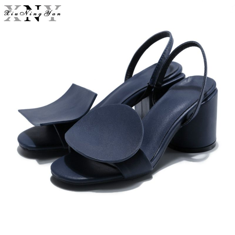 XiuNingYan Women's Luxury Brand Shoes Women Sandals Woman Shoes Genuine Leather Geometric Design Fashion Sandals Zapatos Mujer