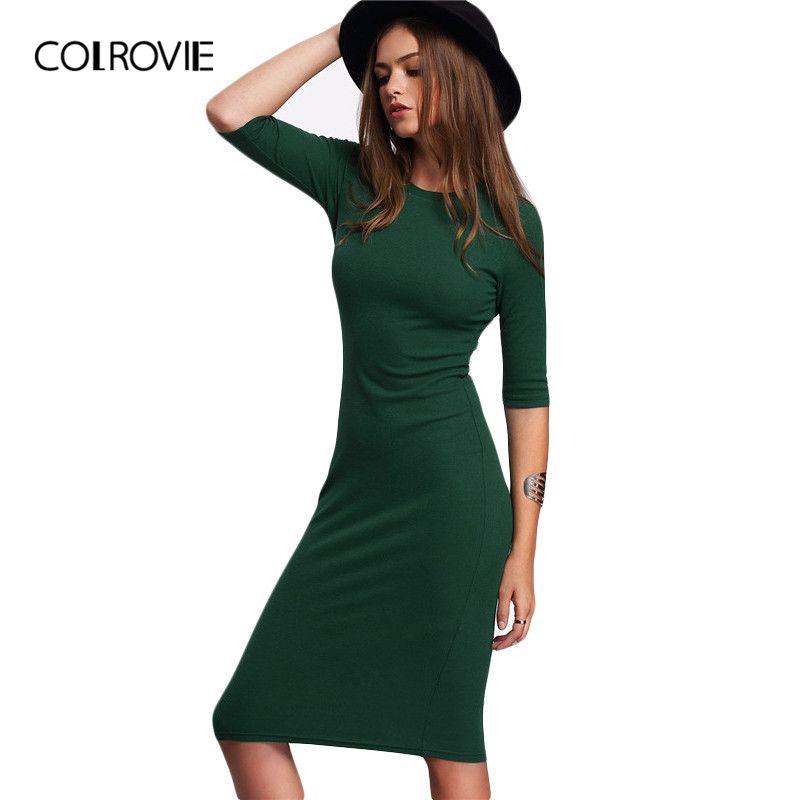 COLROVIE travail d'été Style femmes moulante robes Sexy décontracté vert col rond demi manches robe mi-longue