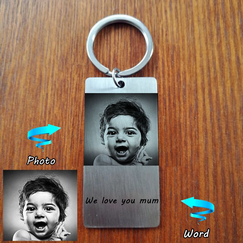 Custom Personal ID Tag Stainless steel Key Chains Engrave Photos Letters Emergency Tag Keychains Personalized Anniversary Gift
