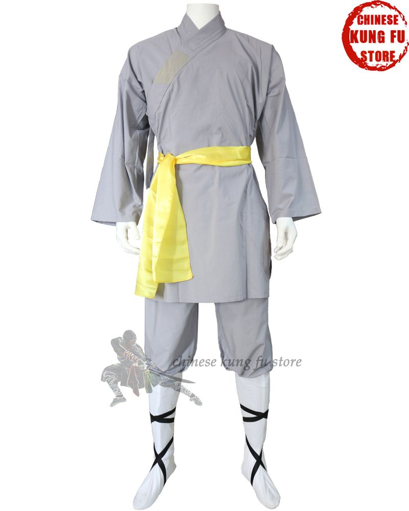 Популярные серый хлопок Шаолинь Monk халат кунг-фу форма Wing chun боевых искусств Тай-чи костюм