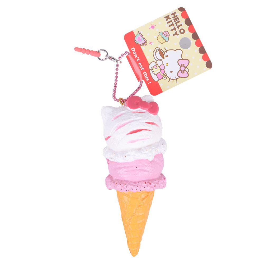 1 pcs Au Détail 10 cm Cornet de Crème Glacée Squishys Nouveau Paquet Original Rare Bonjour Kitty Visqueux Jouets Sous Licence Doux PU jouets de La Chaîne De Charme