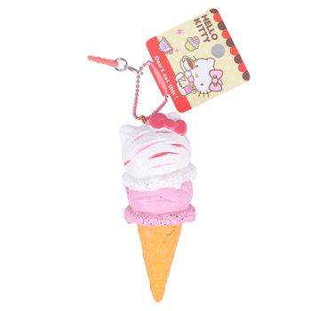 1Pcs Retail 10CM  Ice Cream Cone Squishys New Original Package Rare Hello Kitty Squishy Toys Licensed Soft PU Toys Charm Chain