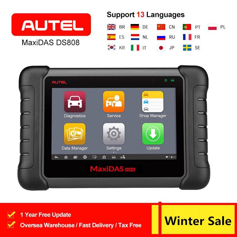 AUTEL MaxiDAS DS808 OBD2 Scanner Diagnose Werkzeug Schlüssel Fob Programmierung Werkzeug ECU Code Automotive Code Reader Gleiche wie MS906 PK DS708