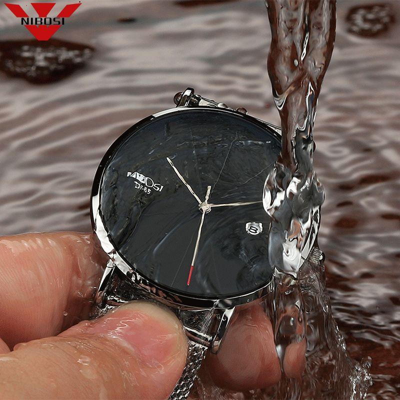 NIBOSI Man Watch Blue Watches Men 2018 Quartz Sport Full Steel Clock Military Watches Men Waterproof Ultra Thin Men's Hodinky