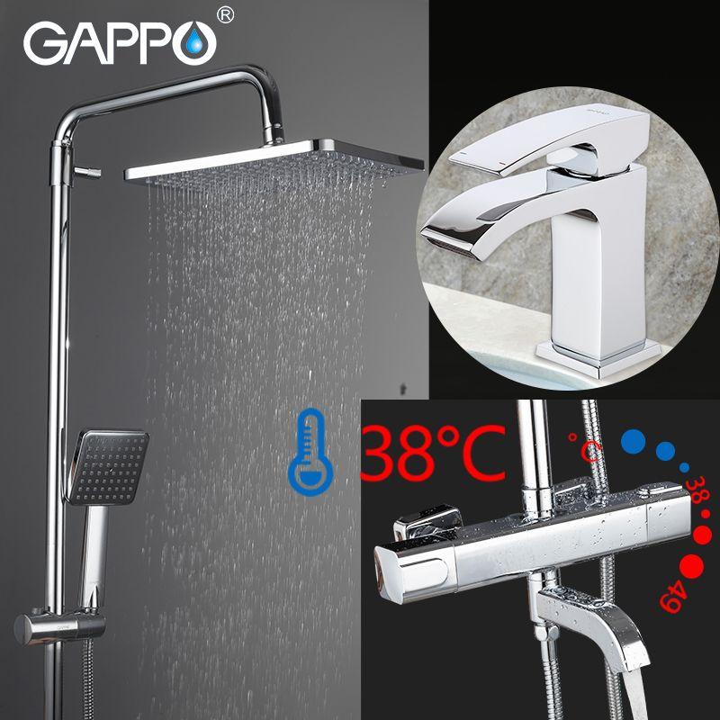 GAPPO Dusche Armaturen chrome bad dusche mixer bad dusche kopf set wand-montiert thermostat dusche wasserhahn becken wasserhahn