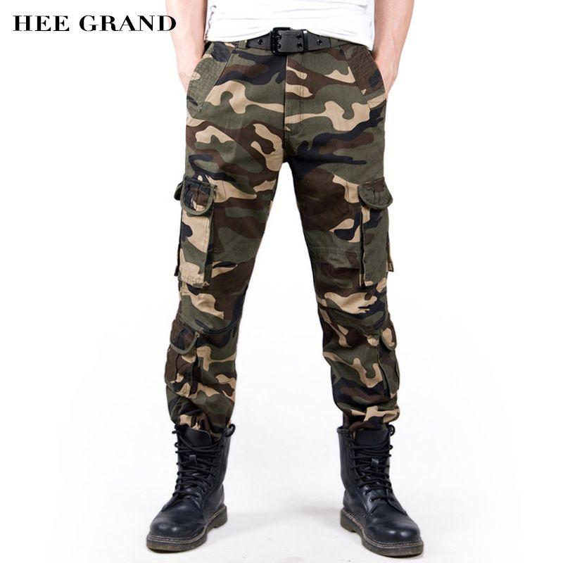 HEE GRAND Männer Mode Tarnung Keucht Lose Stil Baumwolle Material Multi-taschen Mid-taille Cargohose MKX1036