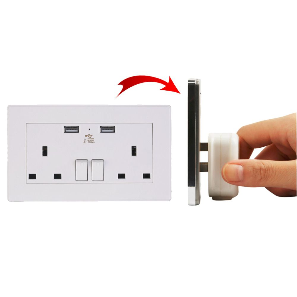 Wall Socket Dual 2 USB Plug Switch Power Supply Plate 1000mA Charger Electric LED Socket Outlet Adapter UK Plug White